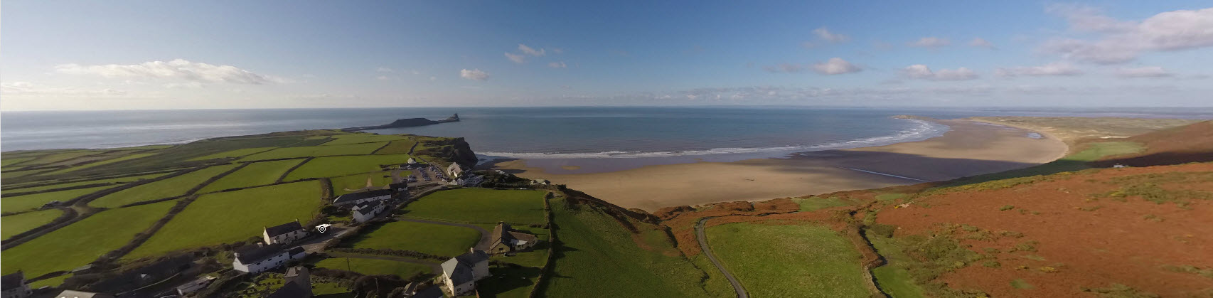 360 interactive aerial panorama of Rhossili, Swansea, South Wales, UK